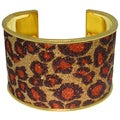 Carolina Glamour Collection Goldtone Steel Leopard Print Cuff Bracelet