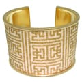 Carolina Glamour Collection Goldtone Steel Greek Square Cuff Bracelet