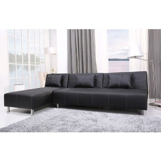 Atlanta Black/ White Stitching Convertible Sectional Sofa Bed and Chaise Set