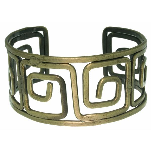 Carolina Glamour Collection Brasstone Open Greek Key Cuff Bracelet
