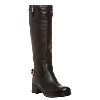 Prada Knee High Leather Boot with Buckle Detail