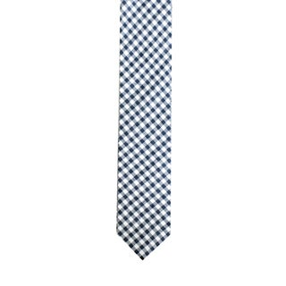 Skinny Tie Madness Men's White/Navy Gingham-Plaid Skinny Tie