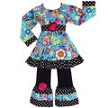 AnnLoren Girls Boutique Vibrant Blue Floral 2-piece Outfit
