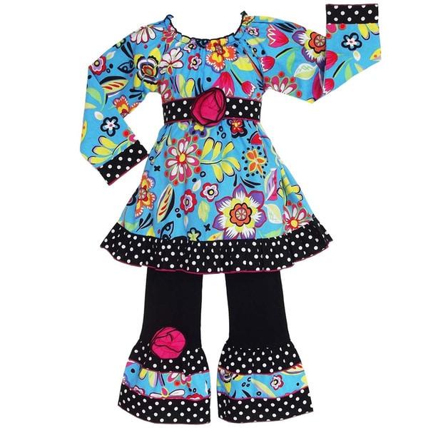 AnnLoren Girls Boutique Vibrant Blue Floral 2-piece Outfit