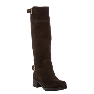 Prada Dark Brown Knee High Suede Boots with Buckle Detail