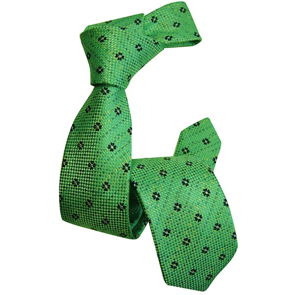 Dmitry Boy's Green Woven Italian-Silk Patterned Tie