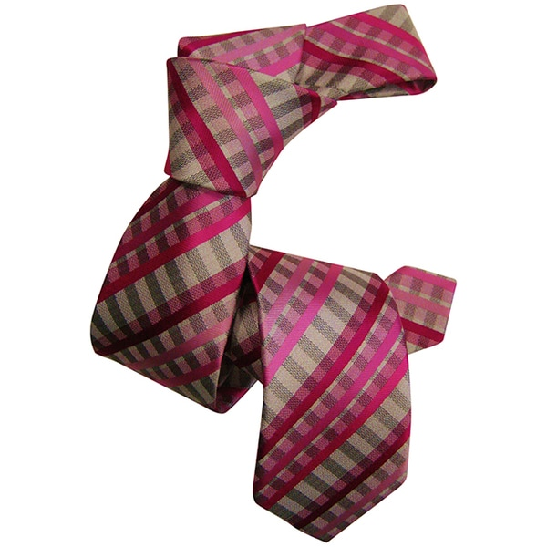 Dmitry Boys Pink and Taupe Italian Silk Patterned Tie