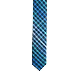Skinny Tie Madness Men's Blue/Black/Green Plaid Skinny Tie