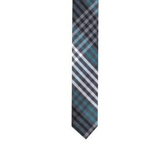 Skinny Tie Madness Men's Grey/ Blue Plaid Skinny Tie