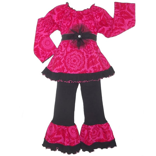 AnnLoren Girls Boutique Pink and Red Floral 2-piece Outfit