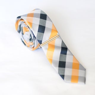 Skinny Tie Madness Men's Blue/ Yellow Plaid Skinny Tie