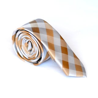 Skinny Tie Madness Men's Orange Plaid Skinny Tie
