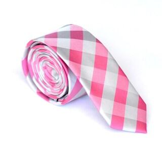 Skinny Tie Madness Men's Pink-and-Gray Plaid Skinny Tie