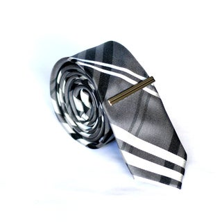 Skinny Tie Madness Men's Dark Gray Plaid Skinny Tie