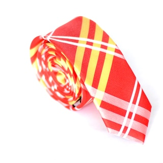 Skinny Tie Madness Men's Red-and-Gold Plaid Skinny Tie