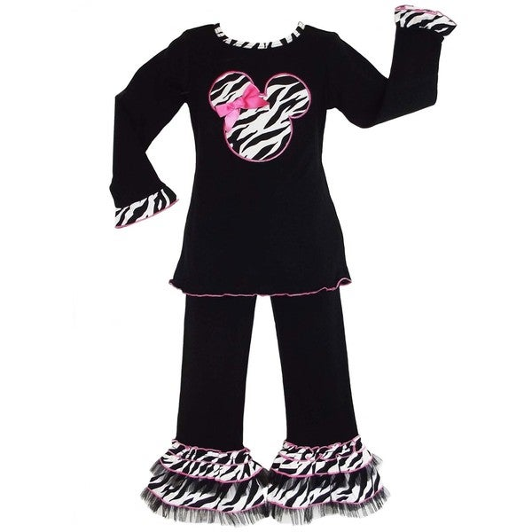 AnnLoren Boutique Girls Black and Pink Zebra Mouse Applique Clothing Set