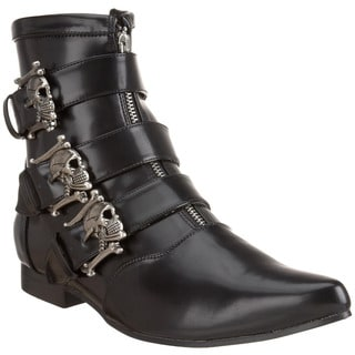Demonia Brogue-06 Men's Winkle-picker Ankle Boots with Dirty Silver Skull Buckles