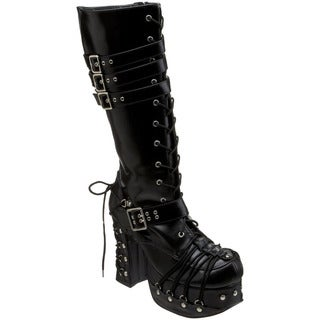 Demonia Charade-206 Women's 4.5-inch Heel Goth Punk Lolita Knee High Boot with Corseted D-ring Lace-up