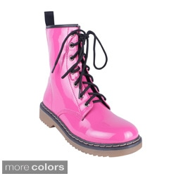 Yoki Women's 'Topic' Glossy Lace-up Combat Boots