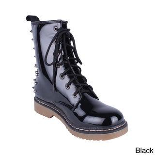 Yoki Women's 'Topic-12' Glossy Spiked Combat Boots