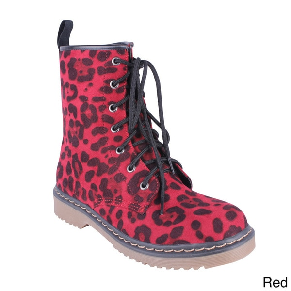Yoki Women's 'Topic-08' Leopard Lace-up Combat Boots