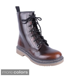 Yoki Women's Topic-04' Tonal Lace Up Combat Boots