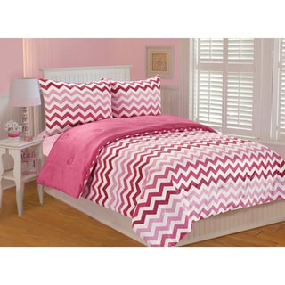 Ombre Chevron Printed 3-piece Comforter Set
