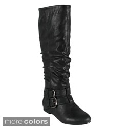 Bonnibel Women's 'Bien-2' Double Buckle Knee-high Slouch Boots