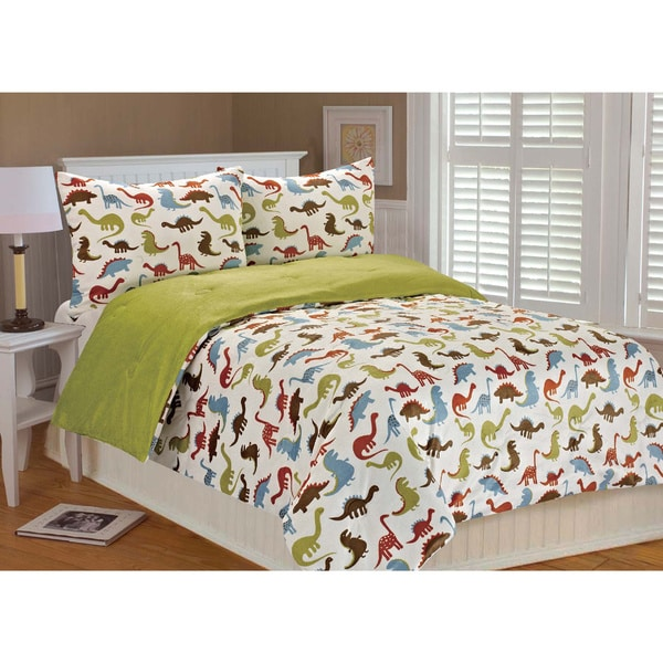 Noah Dinosaur Printed Microplush 3-piece Comforter Set