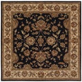 Hand-tufted Border Black/ Ivory Wool Rug (9' Square) (Refurbished)