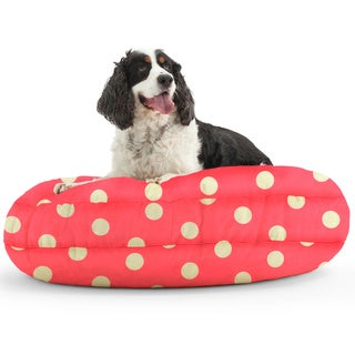DogSack Round Memory Foam Pink/ White Polka-dots Twill Pet Bed