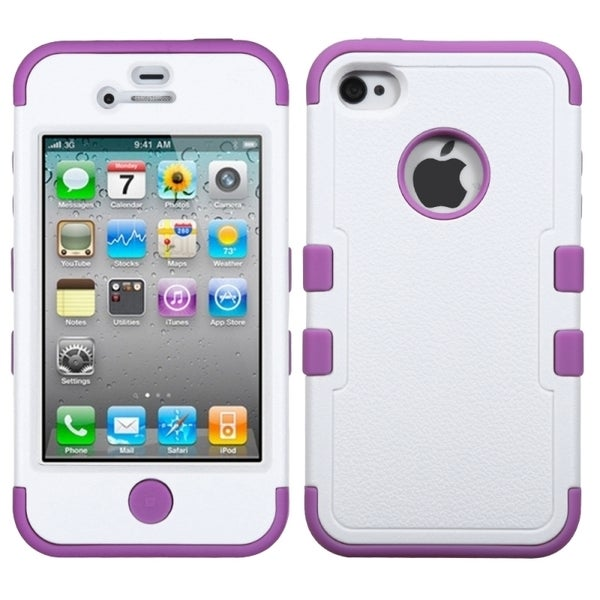 INSTEN Ivory White/ Purple TUFF Hybrid Phone Case Cover for Apple iPhone 4/ 4S