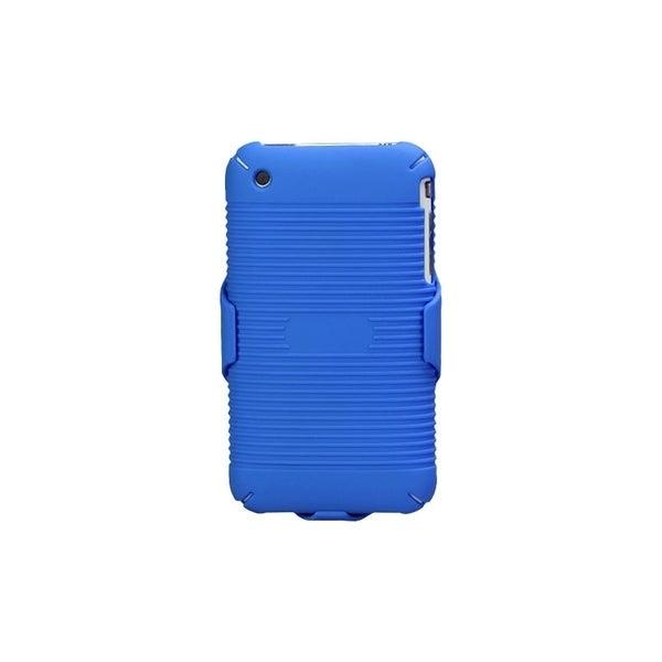 INSTEN Rubberized Blue Hybrid Holster for Apple iPhone 3G/ 3GS