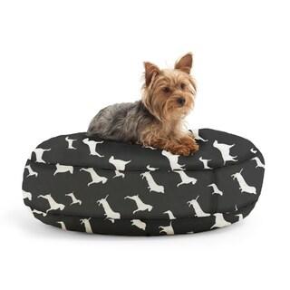 DogSack Round Memory Foam Black/ White Dog Print Twill Pet Bed