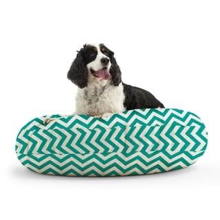 DogSack Round Memory Foam Turquoise/ White Chevron Striped Twill Pet Bed
