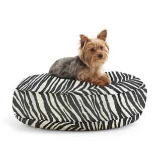 DogSack Round Memory Foam Black/ White Zebra Stripe Twill Pet Bed