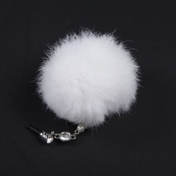 INSTEN White Fur Ball Dust Cap Pendant