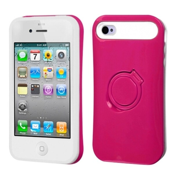 INSTEN Hot Pink/ White Phone Case Cover with Ring Stand for Apple iPhone 4/ 4S