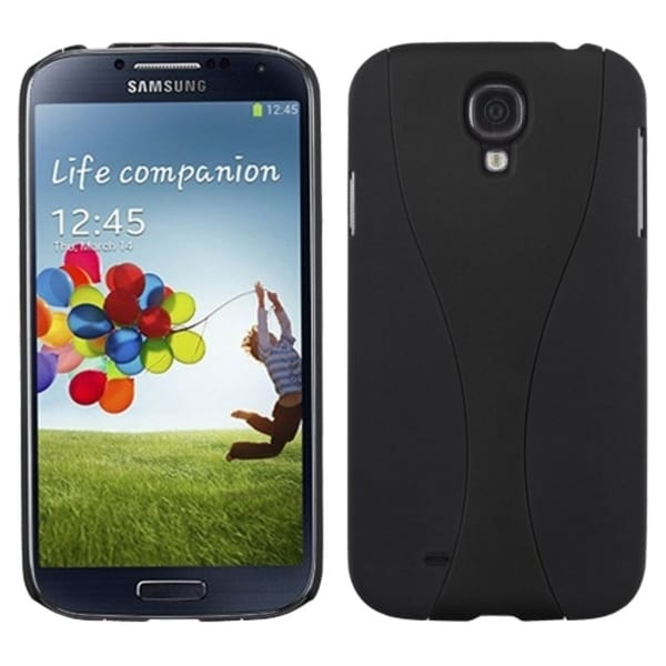 INSTEN Black/ Black Wave Phone Back Phone Case Cover for Samsung Galaxy S4 I9500
