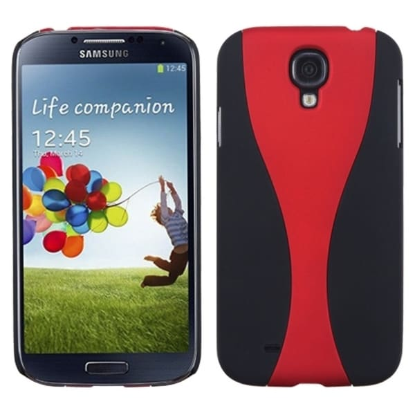 INSTEN Black/ Red Wave Phone Back Phone Case Cover for Samsung Galaxy S4 I9500