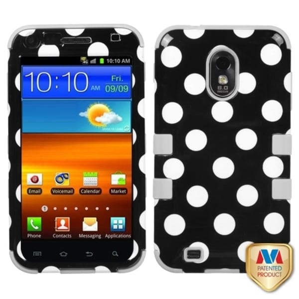 INSTEN White Polka Dots Black/ Grey TUFF Phone Case Cover for Samsung Galaxy S2