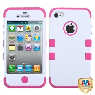 BasAcc Ivory White/ Hot Pink TUFF Case for Apple iPhone 4/ 4S