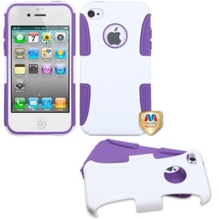 BasAcc Solid Ivory White/ Purple Frosted Case for Apple� iPhone 4/ 4S