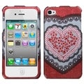 BasAcc Red-Heart-Lace Case with Diamonds for Apple iPhone 4/ 4S