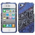 BasAcc Blue-Lace-Jean Case with Diamonds for Apple iPhone 4/ 4S