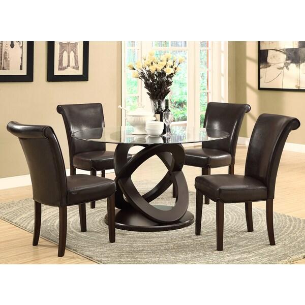 Dark Espresso 48-inch Tempered Glass Dining Table