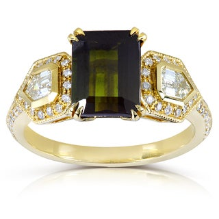 Annello 18k Yellow Gold Green Tourmaline and 5/8ct TDW Diamond Ring (H-I, VS) (H-I, I1-I2)