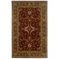 Hand-tufted Oriental Rust/ Medium Green Wool Rug (8' x 10')