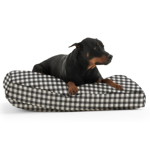 DogSack Rectangle Memory Foam Black/ White Check Twill Pet Bed