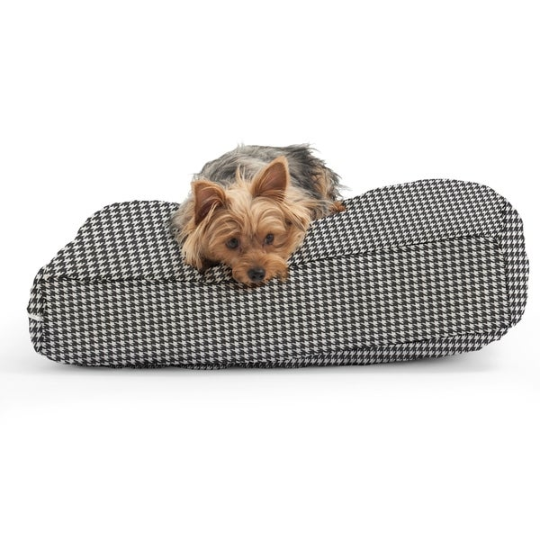 DogSack Rectangle Memory Foam Black/ White Houndstooth Print Twill Pet Bed